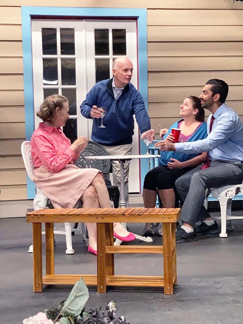 "Starring in PowPAC's production of ""Native Gardens"" are Peggy Schneider, David Dartt, Lauren Bremiller and Babak Shahrokh."
