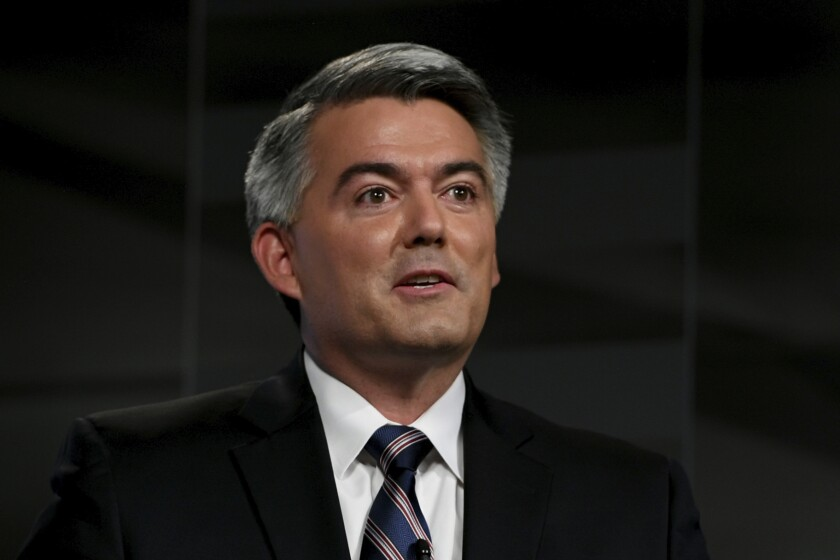 FILE - In this Oct. 9, 2020, file photo Republican U.S. Sen. Cory Gardner speaks during a debate with Democratic former Colorado Gov. John Hickenlooper in Denver. Gardner's re-election hinges on convincing the state's crucial slice of independent voters he's a nonpartisan problem-solver who will look out for the state. (Hyoung Chang/The Denver Post via AP, Pool, File)