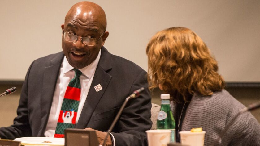 San Francisco Unified School District Superintendent Vincent Matthews gives a presentation on African American achievement and leadereship during a Board of Education weekly meeting at SFUSD's Administration building Tuesday, December 5, 2017. (Jessica Christian/S.F. Examiner)