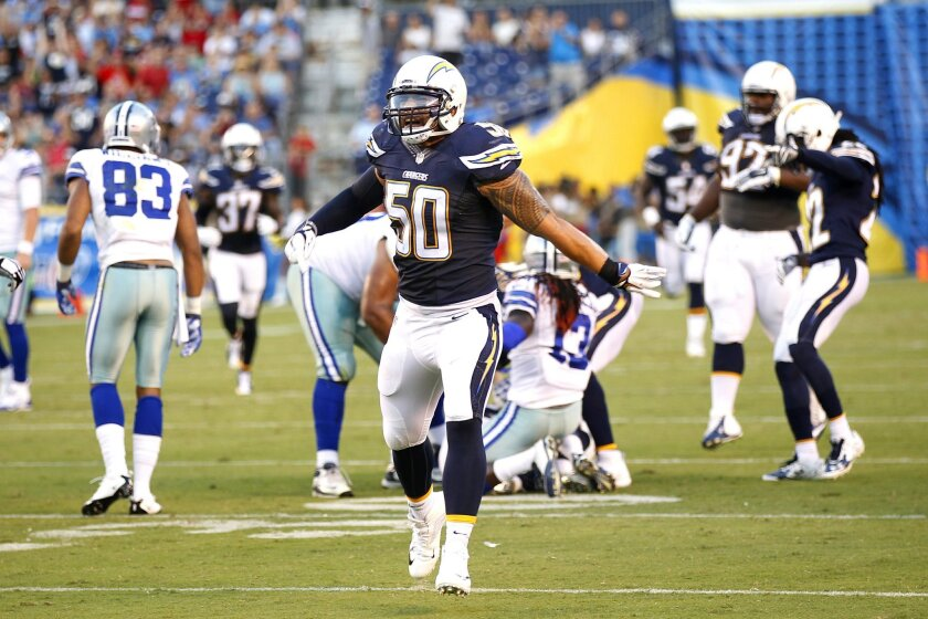 Chargers Manti Te'o celebrates a fumble recovery by Patrick Robinson against the Dallas Cowboys.