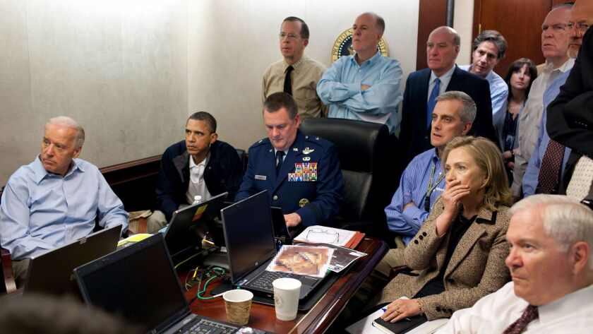President Obama and members of his Cabinet receive updates during the raid that killed Al Qaeda leader Osama bin Laden in 2011.