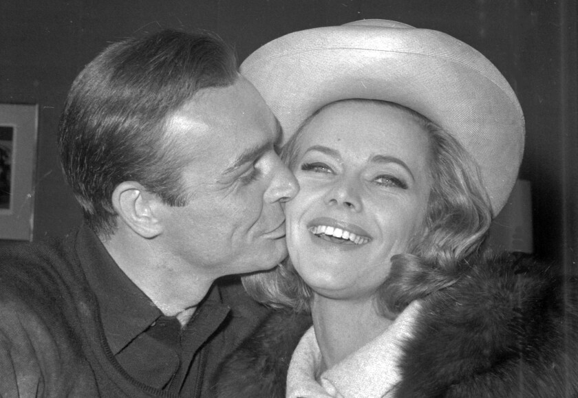 Honor Blackman Actress In James Bond Film Goldfinger Dies Los Angeles Times