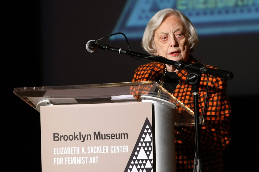 Financier and honoree Muriel Siebert speaks on stage during the Brooklyn Museum's Sackler Center First Awards at the Brooklyn Museum in 2012.