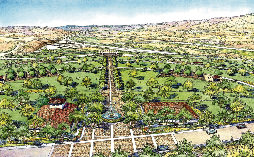 A rendering of the proposed veterans cemetery in Anaheim Hills supported by the Anaheim City Council.