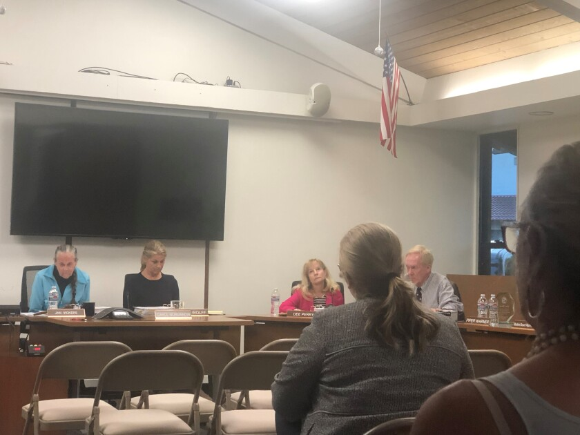 The Laguna Beach Unified School District board in June 2019.