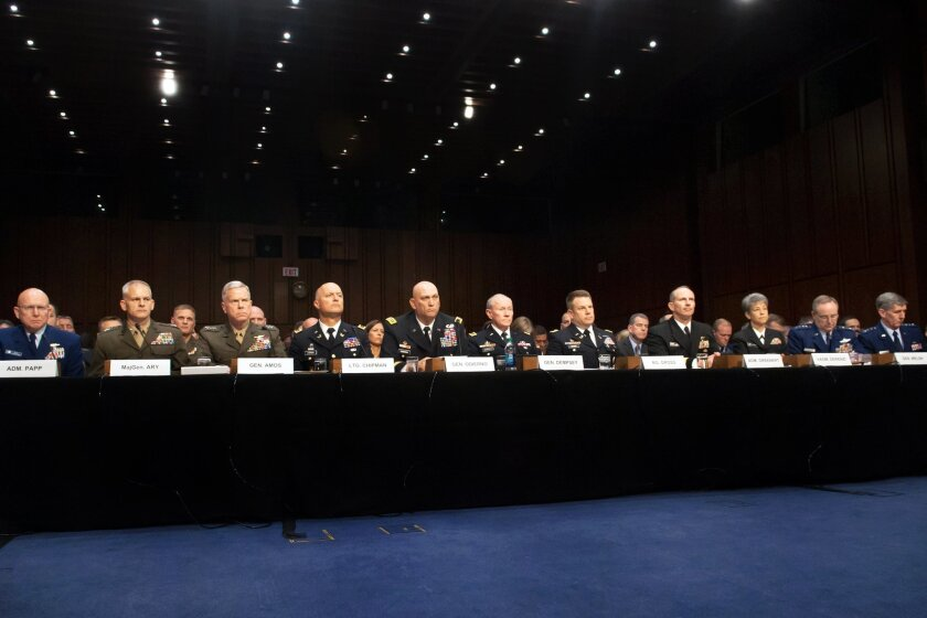 (June 4, 2013) Military service chiefs testify about sexual assault in the military before the Senate Armed Services Committee at the Capitol. From Left, Commandant of the Coast Guard Adm. Robert J. Papp, Jr.; Maj. Gen. Vaughn A. Ary, Staff Judge Advocate to the Commandant of the Marine Corps; Com