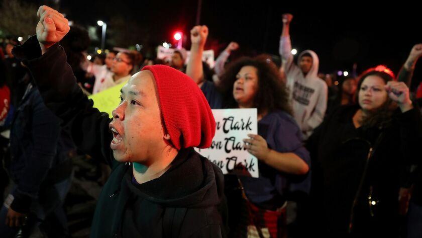 Demonstrators Protest Against Recent Sacramento Police Shooting Of Unarmed Black Man