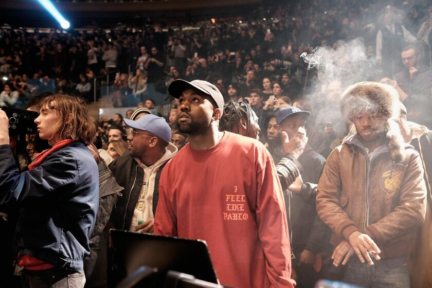 Kanye West at his Yeezy Season 3 fashion launch on Feb. 11 at Madison Square Garden in New York.