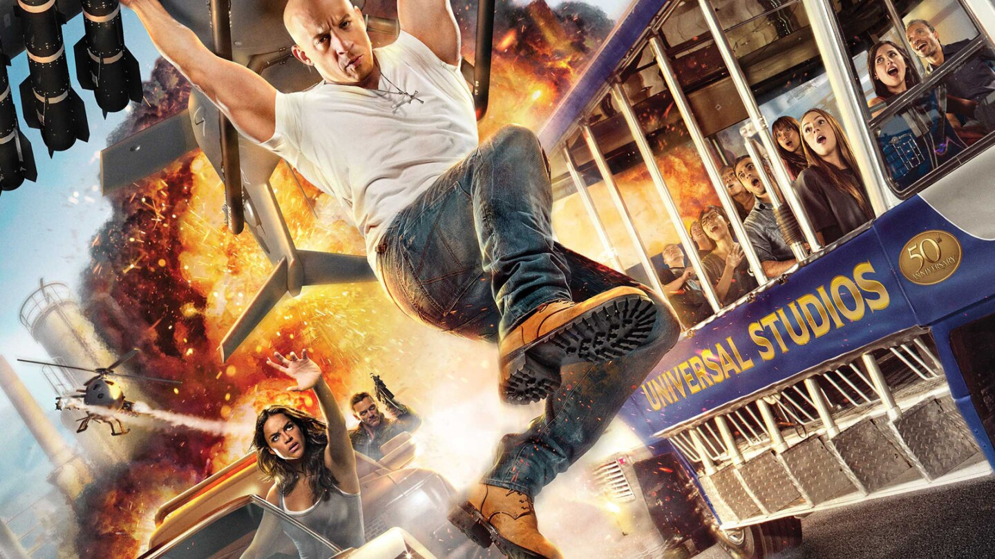 At one point in Fast & Furious: Supercharged, Dom falls from a helicopter on one side of the tram and lands on the hood of a perfectly-timed speeding car on the other side.