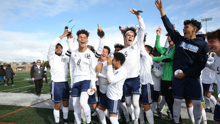 University City players celebrate after winning the Division III title last season. This year, the Centurions will aim for a Division II crown.