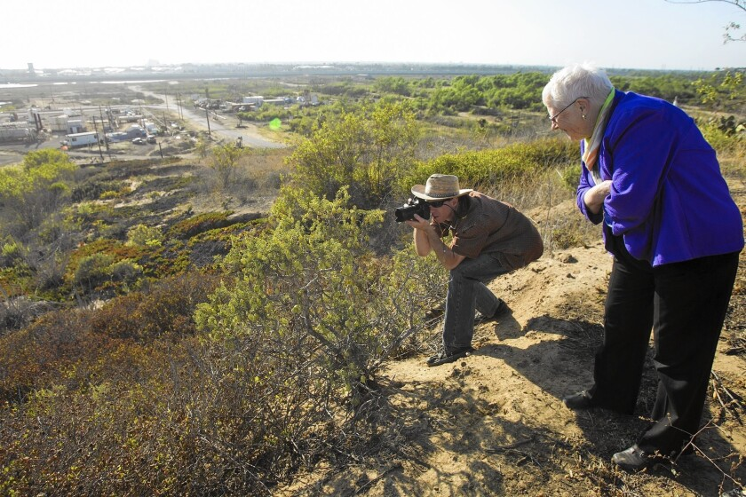Jim Kane takes photos of a plant called a bladder pod as California Coastal Commissioner Carole Groom watches during a field trip in 2014 for coastal commissioners, staff and the public at Banning Ranch, site of a proposed residential and commercial development.