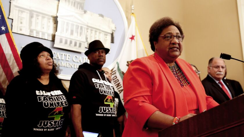 Assemblywoman Shirley Weber, D-San Diego, discusses her bill that would allow police to use deadly force only when there is no reasonable alternative, at a Feb. 6, news conference in Sacramento.