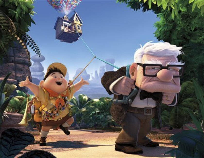 """In this image released by Disney/Pixar Films, animated characters Russell, left, and Carl Fredricksen are shown in a scene from the film, """"Up."""" The film will be will be shown in German cinemas with German titel """"Oben"""" from Thursday, Sept. 17, 2009 onwards. (AP Photo/Disney/Pixar) zu unserem KORR **"""