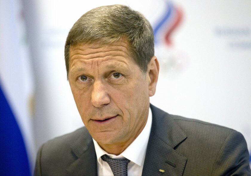 President of Russia's Olympic Committee Alexander Zhukov opens the meeting of Russia's Olympic Committee in Moscow, Wednesday, July 20, 2016. Zhukov says he expects a final decision by Sunday on whether the entire Russian team will be banned from next month's games in Rio over doping. The Internati