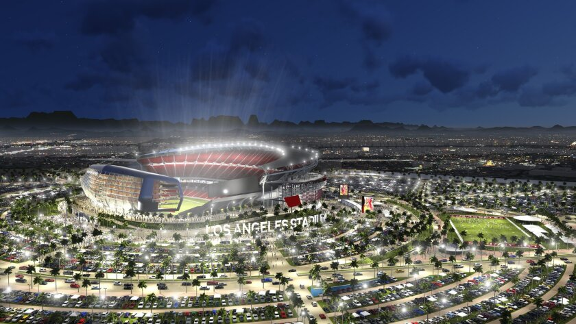 This undated artist rendering provided by MANICA Architecture shows an artist's rendering of a newly proposed NFL stadium in the city of Carson, Calif. The Oakland Raiders and San Diego Chargers are jointly planning a shared stadium if both teams fail to get new deals in their current hometowns. The proposed $1.7 billion stadium would be in Carson, Calif. 15 miles south of downtown Los Angeles and home to the Los Angeles Galaxy soccer team. (AP Photo/MANICA Architecture) NO SALES