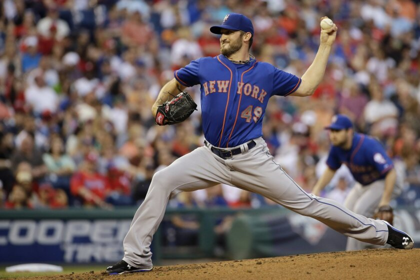 New York Mets' Jonathon Niese pitches during the third inning of a baseball game against the Philadelphia Phillies, Saturday, May 9, 2015, in Philadelphia. (AP Photo/Matt Slocum)