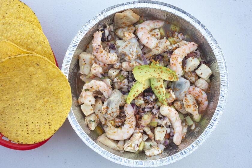 LOS ANGELES -- NOVEMBER 11, 2018: Oscar Soto's invention, La Mochila, is shrimp ceviche and fish agu