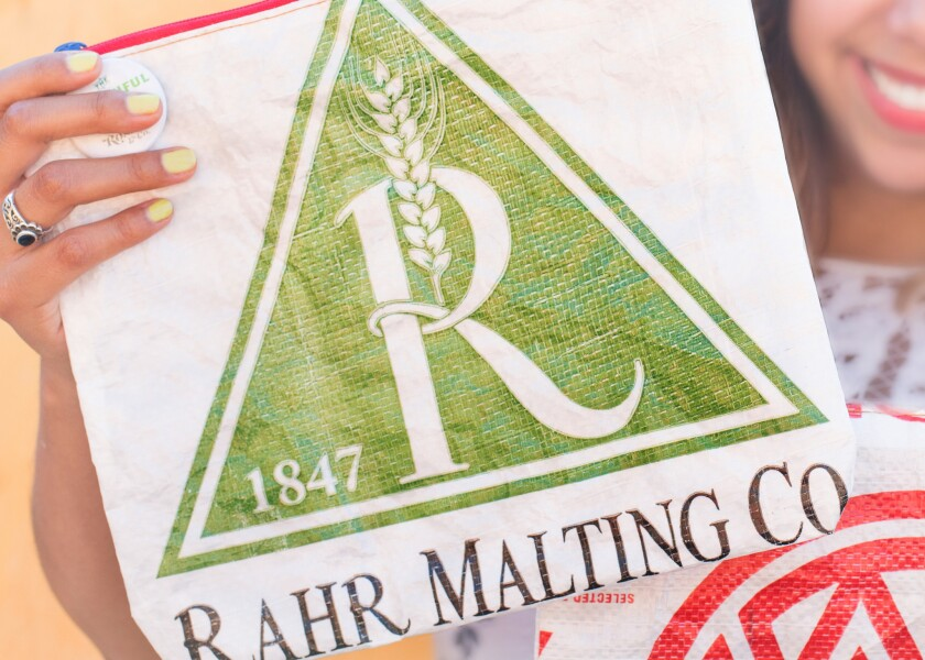 The Bountiful Zipper Pouch uses upcycled malt bags used by breweries.