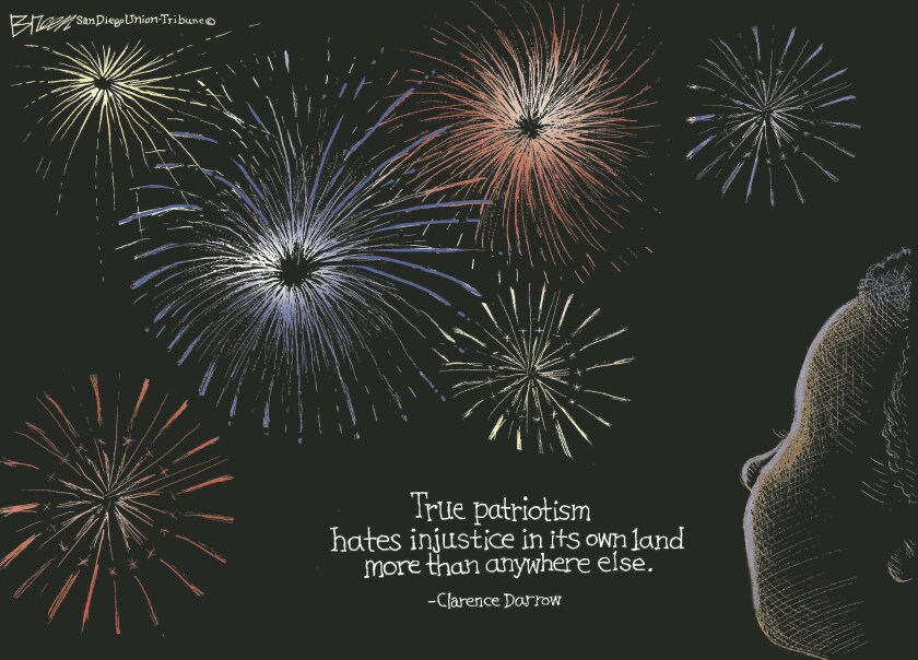 A Black youth looks up at fireworks in the night sky and an inspiring quote in this cartoon by Steve Breen