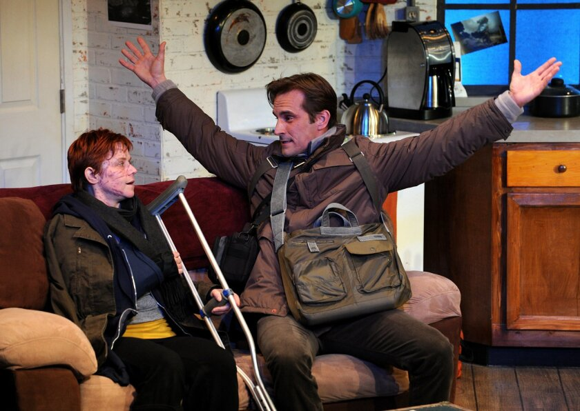 """Mahri Sandoval and Francis Gercke in North Coast Repertory Theatre's """"Time Stands Still."""" CREDIT: Ken Jacques"""