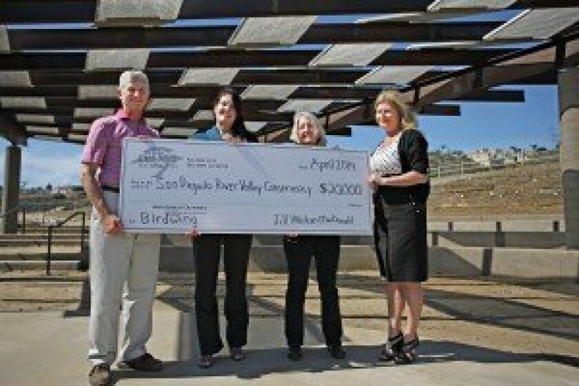 (L-R): Peter Shapiro, president of the San Dieguito River Valley Conservancy; Karen Wilson, executive director, Del Mar Foundation; Robin Crabtree, Del Mar Foundation board member and chair of the Grants Committee; Trish Boaz, executive director, San Dieguito River Valley Conservancy.