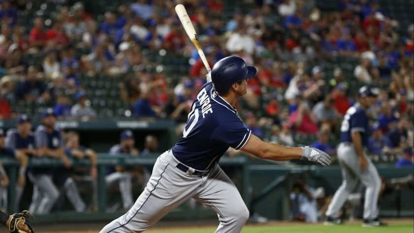 San Diego Padres' Hunter Renfroe follows through on his RBI double against the Texas Rangers during