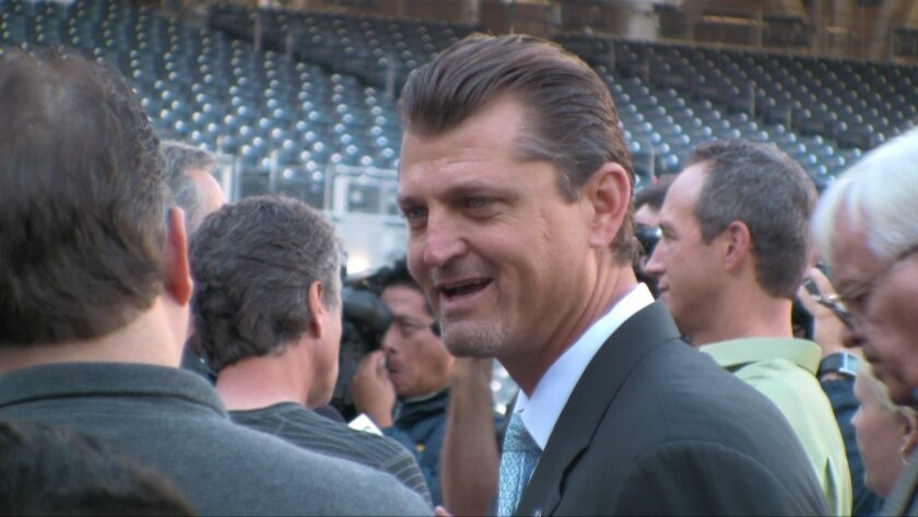 Trevor Hoffman talks to the media after announcing his retirement from Major League Baseball after 18 years.