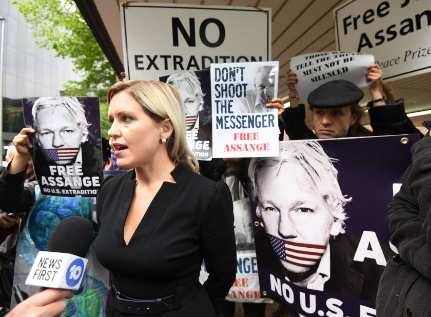 Jennifer Robinson, one of the lawyers on Julian Assange's legal team, speaks to reporters outside Southwark Crown Court in London. The Wikileaks co-founder Julian Assange has been sentenced to 50 week in prison for breaching his bail conditions.