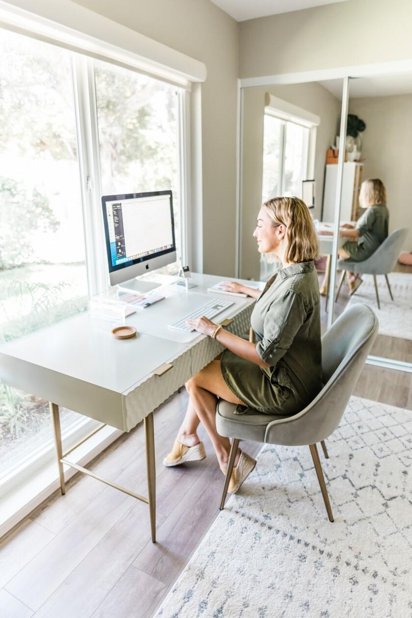 Olia Majd's work-from-home setup.