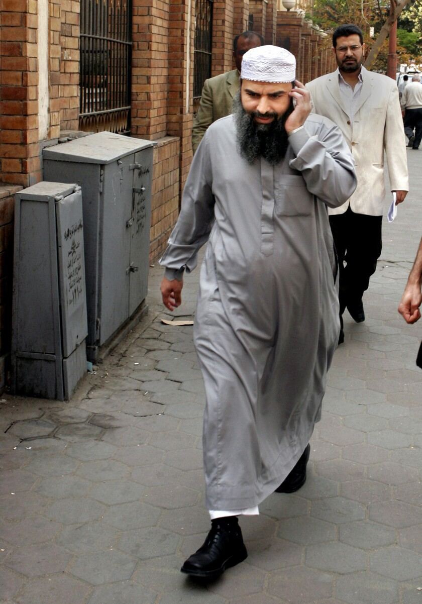Egyptian cleric Hassan Mustafa Osama Nasr, also known as Abu Omar, walks down a Cairo street on April 11, 2007.