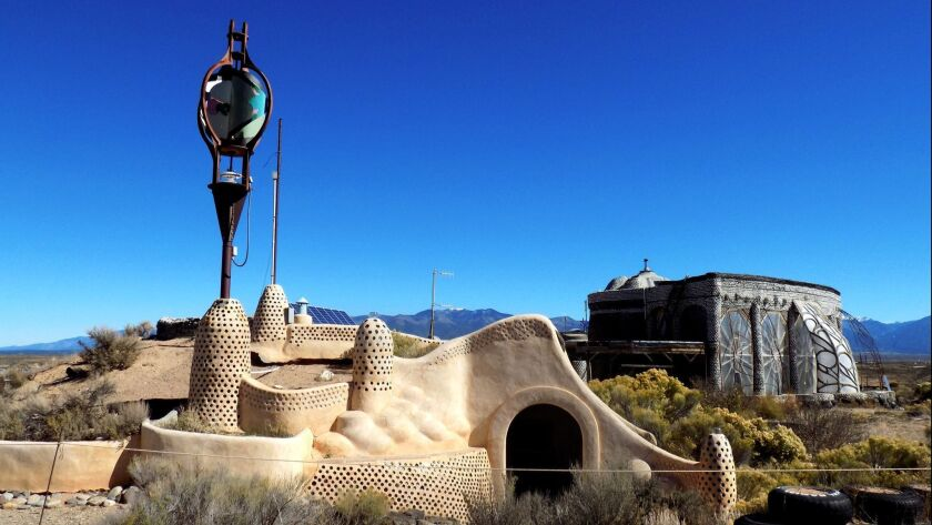 The self-sustaining buildings at Earthship Biotecture in New Mexico.