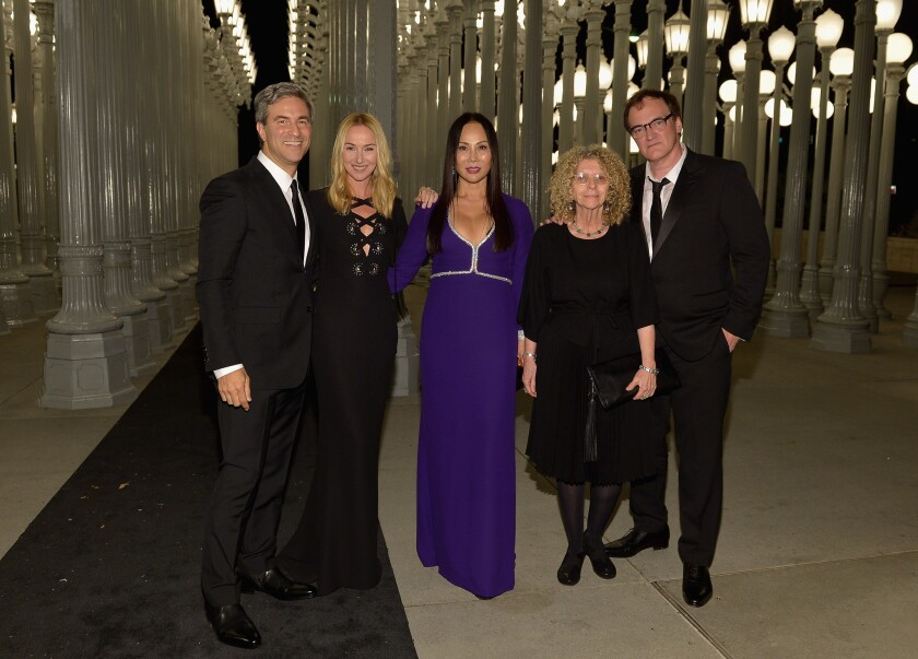 At LACMA's Art + Film Gala on Saturday are, from left, LACMA director Michael Govan, Gucci creative director Frida Giannini, Art + Film Gala co-chair Eva Chow, Barbara Kruger and Quentin Tarantino.