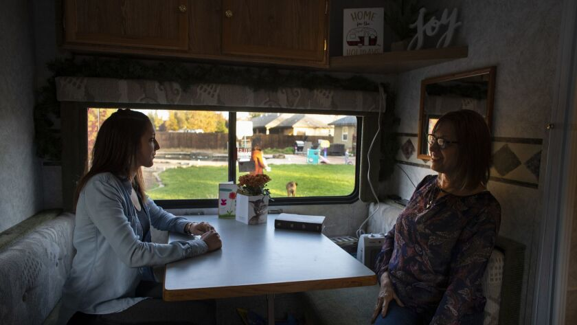 CHICO, CA - NOVEMBER 25, 2018: Evacuees Colleen Lucas, 23, and her mom Rose Lucas,64 lost their home