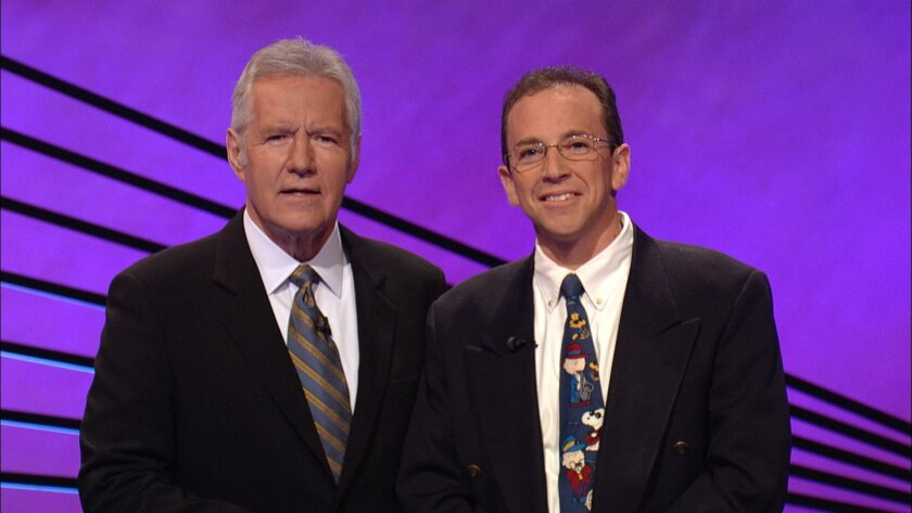 Jeopardy host Alex Trebek and Jonathan Shulman. Courtesy of Jeopardy Productions, Inc.