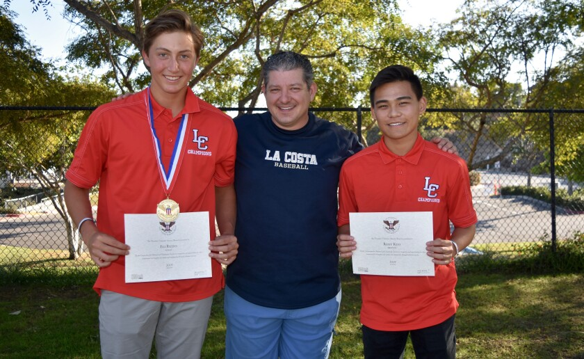 Canyon Crest Academy senior Elijah Rejto (left), recipient of the Gold Presidential Award; La Costa Youth Organization League President Kurt Ergene, and CCA senior Roey Kuo, who earned the Bronze Presidential Award.