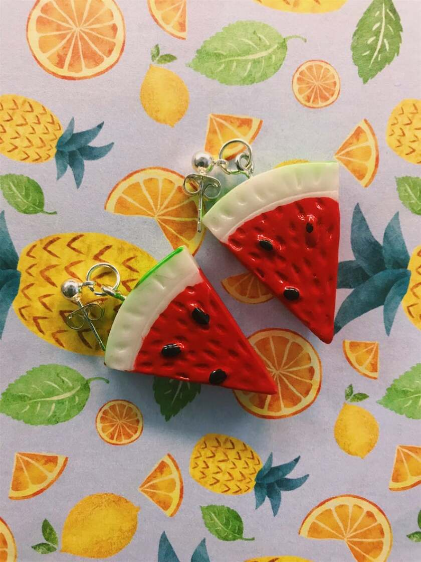 Watermelon wedge earrings from Whimsical Finds.