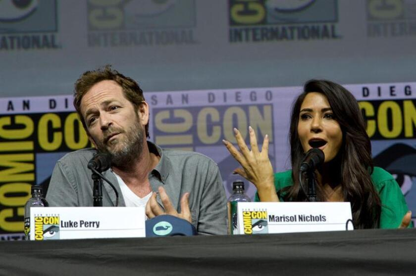 Cast from the television series, Riverdale, Luke Perry and Marisol Nichols, speak during a panel presentation at Comic Con International in San Diego, California, USA. EFE/EPA/FILE