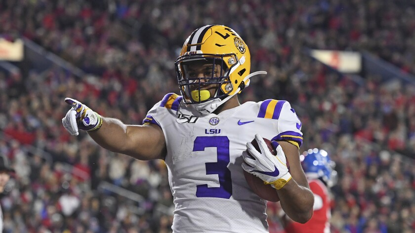 LSU running back Tyrion Davis-Price reacts after a touchdown during the first half against Mississippi on Saturday.