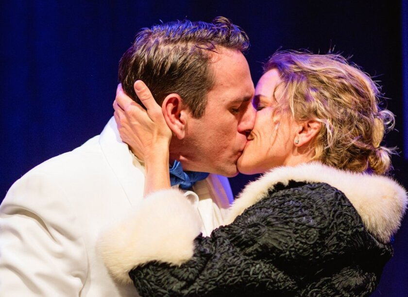 """In """"Stage Kiss,"""" Amanda Morrow and John DeCarlo co-star as the actors """"She"""" and """"He,"""" onetime lovers who rekindle their romance when cast together in a corny 1930s melodrama."""