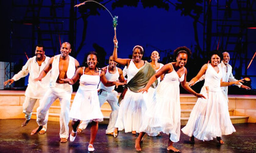 "ISLAND HOPPING: A scene from ""Once On This Island,"" currently at UCLA Freud Playhouse. From left to right: Lance Roberts, Bryan Terrell Clark, Darina Littleton, Leslie Odom, Jr., Ledisi, Nicolette Robinson, Kristolyn Lloyd, Vanita Harbour, Brian Chandler."