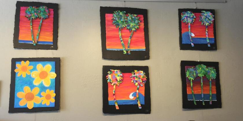 Mike Lacetera's recycled cardboard art is on display through the month of July 2019 at Bird Rock Coffee Roasters, 5627 La Jolla Blvd.