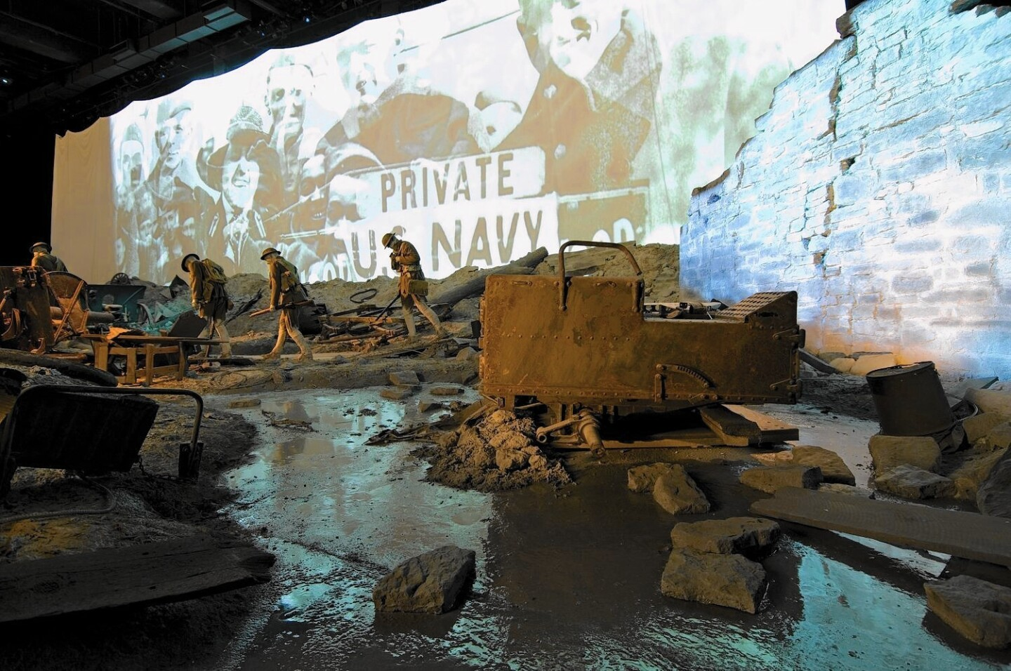 Real war wreckage from the museum's collection is used in the re-created no-man's-land in one of the museum's theaters.
