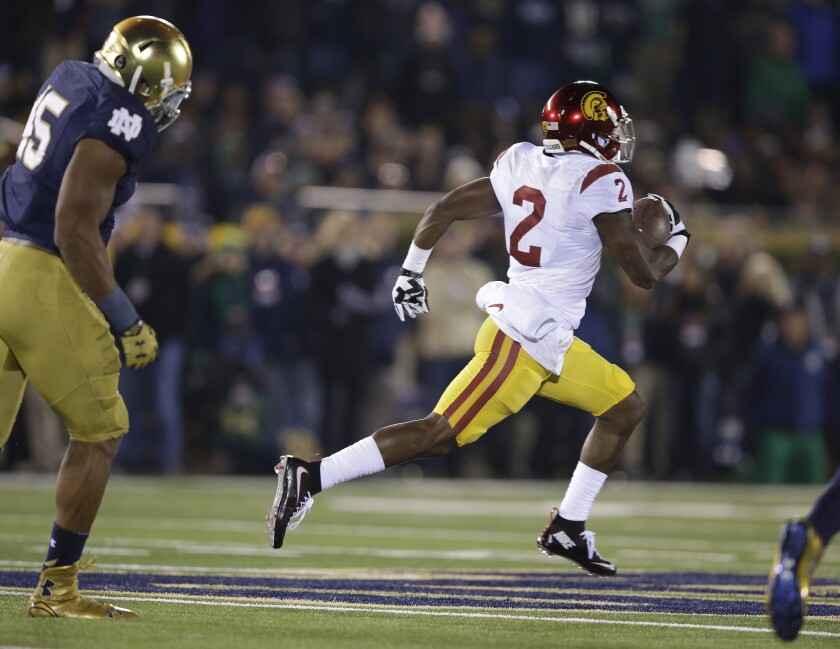 USC's Adoree' Jackson runs for a 83-yard touchdown reception during the first half of the Trojans' loss to Notre Dame, 41-31.