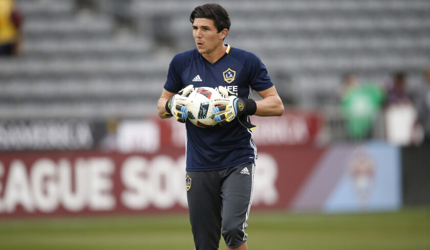 Los Angeles Galaxy goalkeeper Brian Rowe plays in the first half of a soccer game on March 12.