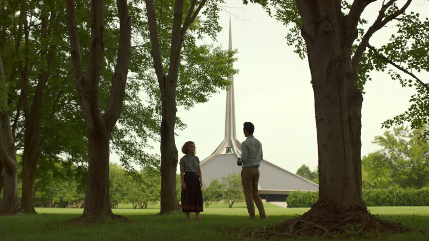 Casey and Jin (actors Haley Lu Richardson and John Cho) against the backdrop of the North Christian