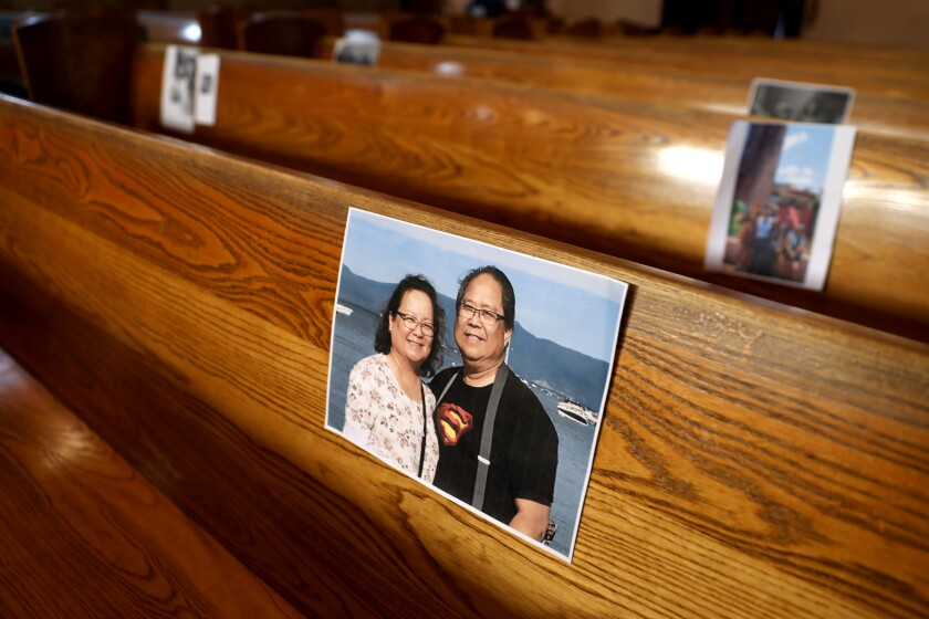 A photo of Henry and Gloria Lucio. The Rev. Ricardo Viveros asked parishioners to send photos of themselves to place in the pews at Holy Trinity Catholic Church in Atwater Village in Los Angeles.