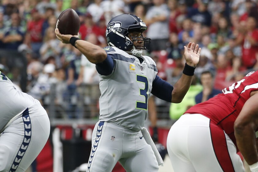 Seattle Seahawks quarterback Russell Wilson will face a depleted Rams defense on Thursday night.