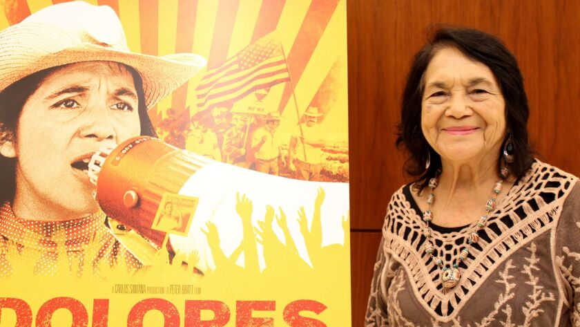 Dolores Huerta, who co-founded the National Farm Workers' Association with Cesar Chavez, is featured in the film 'Dolores' which is playing at the Landmark Ken Cinema through Thursday.