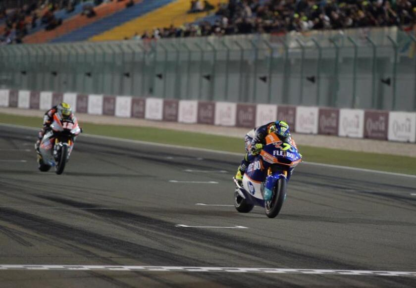 El italiano Lorenzo Baldasarri, del Flexbox HP 40, en el circuito internacional de Losail, Doha, Catar. EFE/EPA