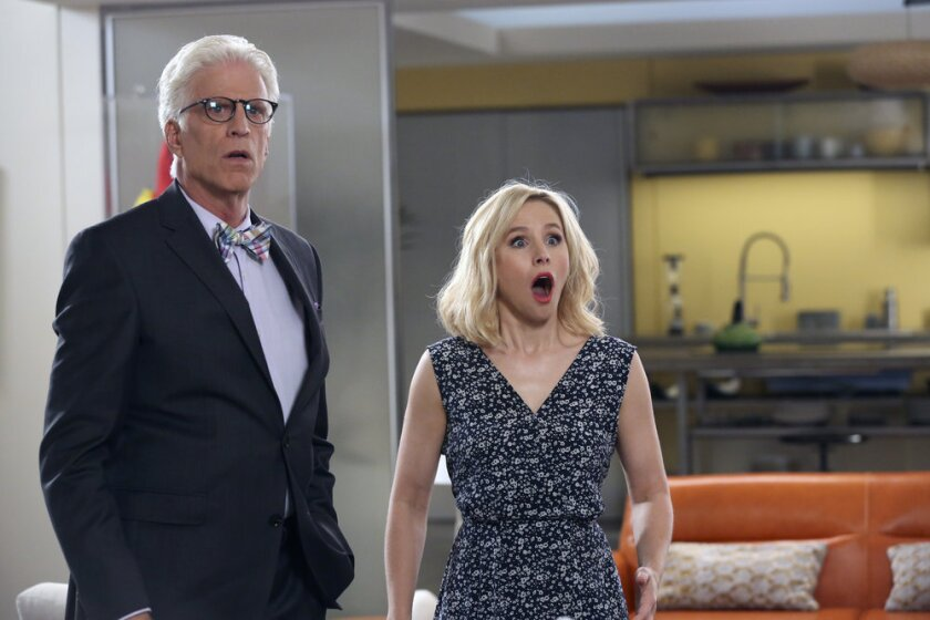 "Ted Danson and Kristen Bell in ""The Good Place"""